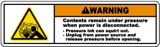 Warning Contents remain under pressure when power is disconnected label