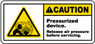 Caution Pressurized device Release air pressure before servicing label