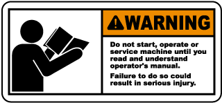 Warning Do not start operate or service machine until you read and understand operator's manual Failure to do so could result in serious injury label