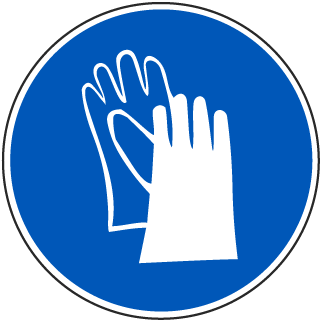International Gloves Required Symbol Label