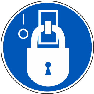 International Lock-Out In De-Energized State Symbol Label