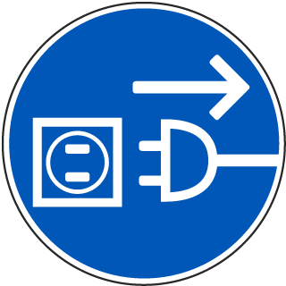 International Disconnect Before Opening Symbol Label