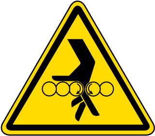 International Rotating Rollers Hazard Symbol Label