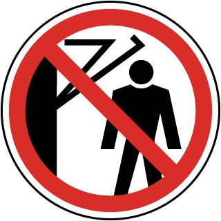International Do Not Stand Near Moving Arm Symbol Label