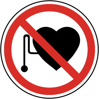 International No Pacemakers Symbol Label