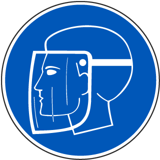 International Face Shield Required Symbol Label