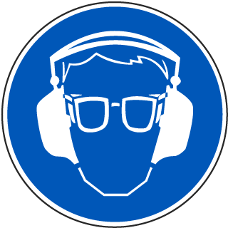 International Ear and Eye Protection Required Symbol Label