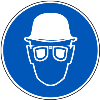 International Head and Eye Protection Required Symbol Label