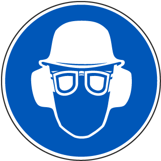 International Head, Ear and Eye Protection Required Symbol Label