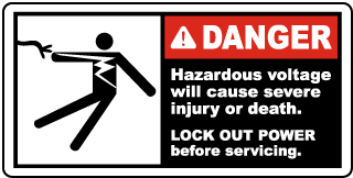 Danger Hazardous voltage will cause severe injury or death LOCK OUT POWER before servicing label