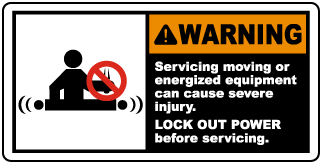 Warning Servicing moving or energized equipment can cause severe injury LOCK OUT POWER before servicing label