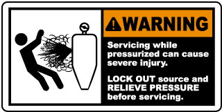 Warning Servicing while pressurized can cause severe injury LOCK OUT source and RELIEVE PRESSURE before servicing label