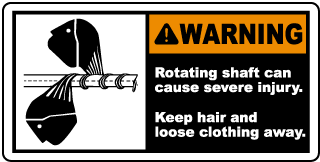 Warning Rotating shaft can cause severe injury Keep hair and loose clothing away label