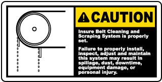 Ensure Belt Cleaning System Is Set Label