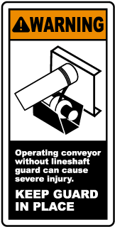 Warning Operating conveyor without lineshaft guard can cause severe injury label
