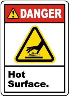 Danger Hot Surface Label