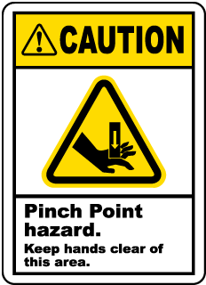 Caution. Pinch Point Hazard. Keep Hands Clear of This Area.