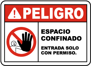Spanish Confined Space Enter By Permit Only Sign