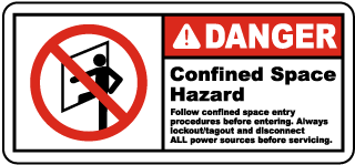 Danger Confined Space Hazard. Follow Confined Space Entry Procedures Before Entering. Always Lockout/Tagout and Disconnect ALL Power Sources Before Servicing.