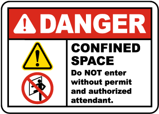 Danger Confined Space Do Not Enter Without Permit and Authorized Attendant.