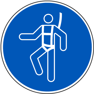 ISO Symbol Wear a Safety Harness Symbol Label