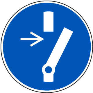 ISO Symbol Disconnect Before Carrying Out Maintenance or Repair Symbol Label