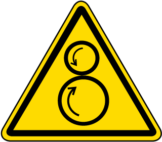 ISO Symbol Warning: Counter rotating Rollers Symbol Label