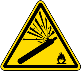 ISO Symbol Warning: Pressurized Cylinder Symbol Label