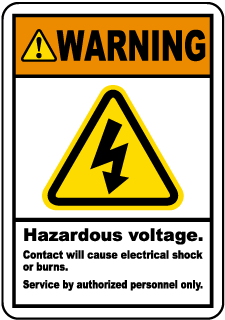 Warning Hazardous Voltage. Contact will cause electrical shock or burns. Service by authorized personnel only.