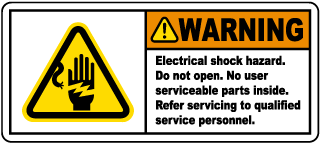 Warning Electrical shock hazard. Do not open. No user serviceable parts inside. Refer servicing to qualified service personnel.