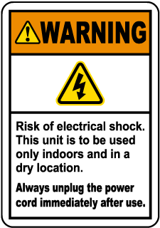 Warning Risk of electrical shock. This unit is to be used only indoors and in a dry location. Always unplug the power cord immediately after use.