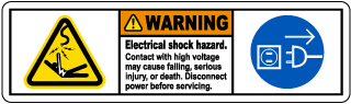 Warning Electrical shock hazard. Contact with high voltage may cause falling, serious injury, or death. Disconnect power before servicing.