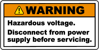 Warning Hazardous Voltage. Disconnect from power supply before servicing.