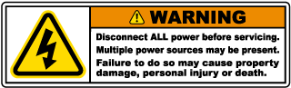 Warning Disconnect ALL power before servicing. Multiple power sources may be present. Failure to do so may cause property damage, personal injury or death.