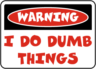 Warning I Do Dumb Things Sign