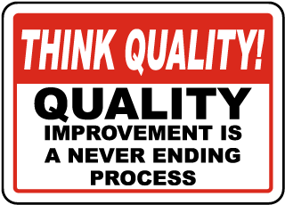 Think Quality Quality Improvement Is A Never Ending Process Sign