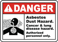 Danger Asbestos Dust Hazard. Cancer and lung disease hazard. Authorized personnel only Sign