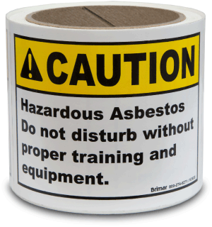 Caution Hazardous Asbestos Do not disturb without proper training and equipment Label