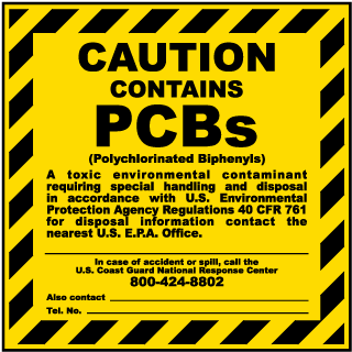 Caution Contains PCBs Polychlorinated Biphenyls label