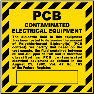 PCB Contaminated Electrical Equipment label