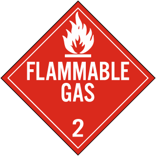 Hazard Class 2 Gases Flammable Gas DOT Placard