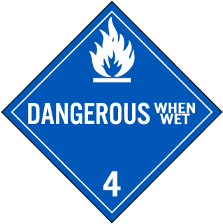 Hazard Class 4 Dangerous When Wet DOT Placard