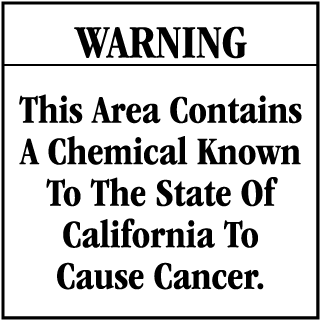 Warning This Area Contains A Chemical Known To The State Of California To Cause Cancer CA Prop 65 Signs