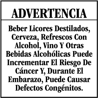 Advertencia Beber Licores Destilados, Cerveza, Refrescos Con Alcohol CA Prop 65 Signs