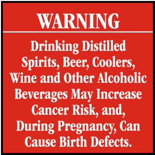 Warning Drinking Distilled Spirits, Beer, Coolers CA Prop 65 Signs