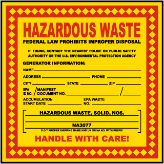 Hazardous Waste Federal Law Prohibits Waste Solid NOS Label