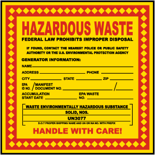 Hazardous Waste Federal Law Prohibits Substance Solid Label