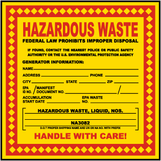 Hazardous Waste Federal Law Prohibits Waste Liquid NOS Label