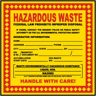 Hazardous Waste Federal Law Prohibits Substance Liquid NOS Label