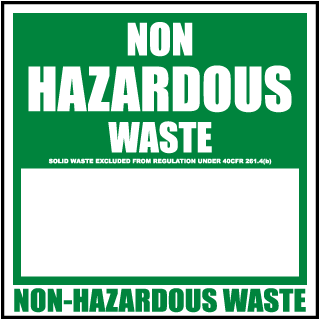 Non Hazardous Waste Solid Waste Label